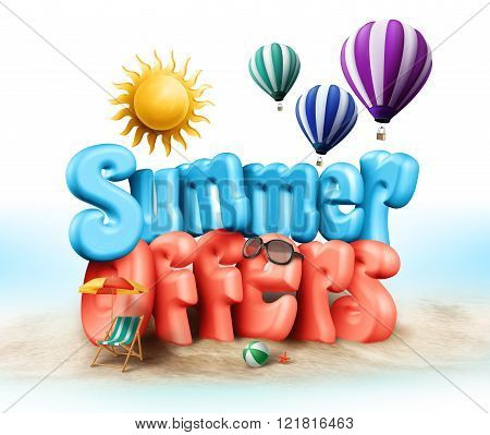 Summer Offers Design Illustration in 3D Rendered Graphics in Beach Sand