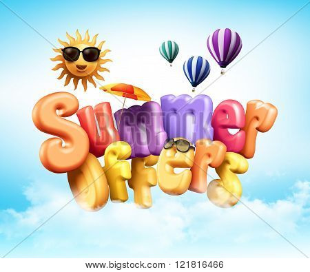 Summer Offers Poster Design Illustration in 3D Rendered Graphics