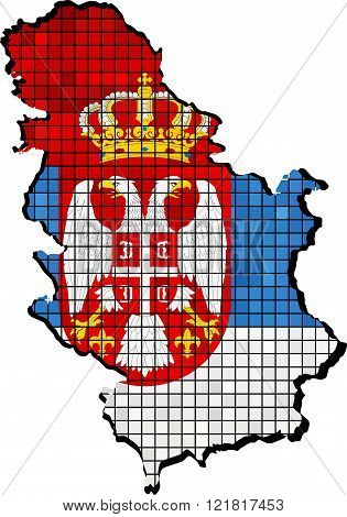 Serbia Map With Flag Inside.eps