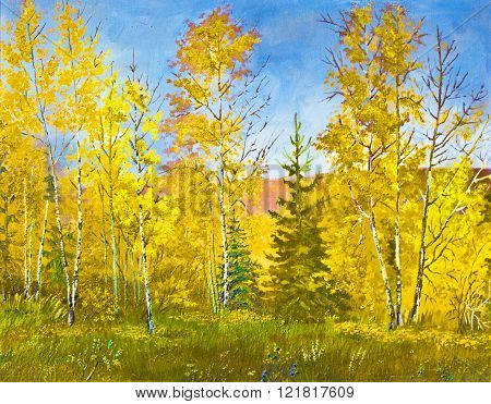 Yellow forest in autumn, landscape, oil painting
