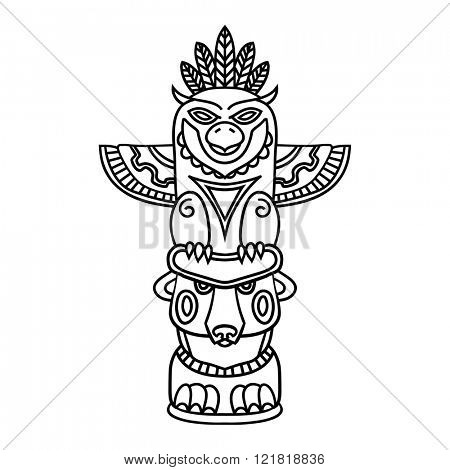 Doodle Traditional Tribal Totem Pole isolated on white background, coloring book. Black and white vector illustrations