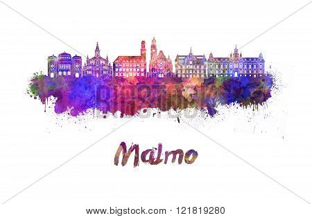 Malmo Skyline In Watercolor