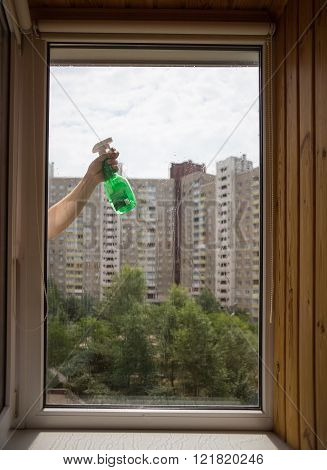 Cleaning windows picture in summer day