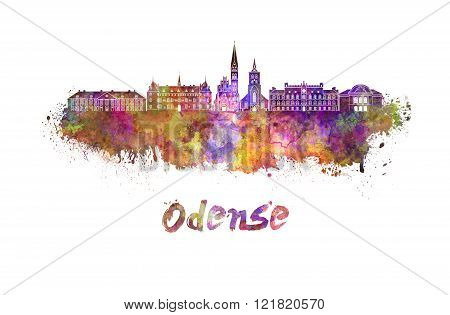 Odense Skyline In Watercolor