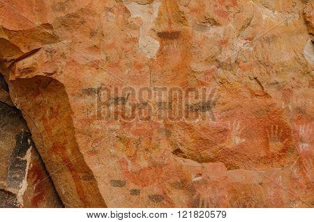 PERITO MORENO, ARGENTINA - FEBRUARY 23, 2016: World heritage site Cueva de las manos close to the village  on February 23, 2016 in Perito Moreno.