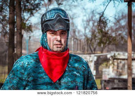 Man - paintball player portrait