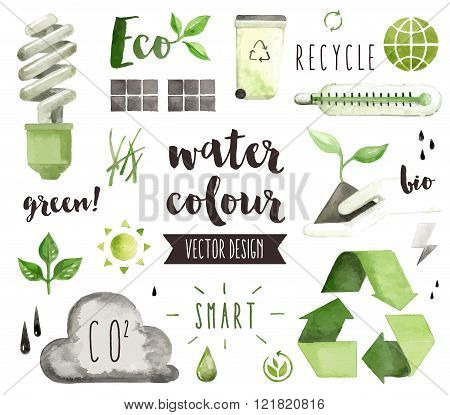 Green Energy Watercolor Vector Objects