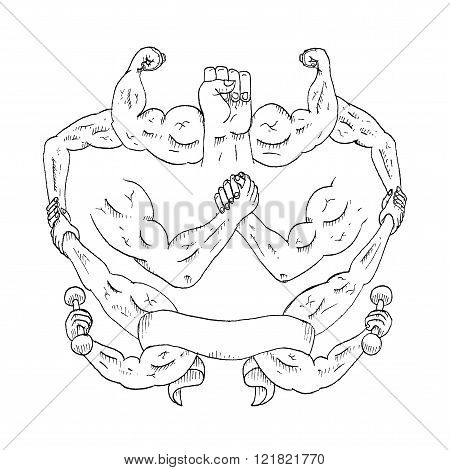 Vintage Hand Drawn Outline Illustration Of Muscular Arms