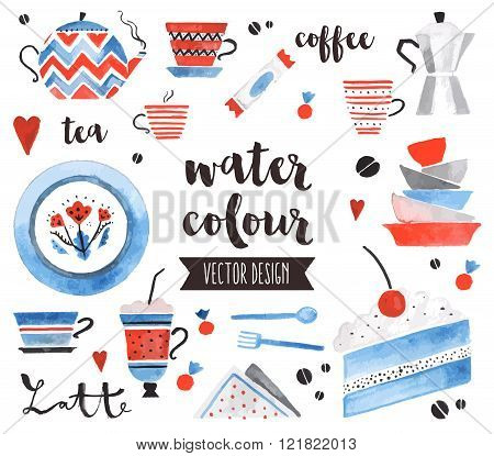 Tea Time Watercolor Vector Objects