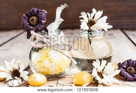 Spa Oil, Bath Salt, Spices, Chamomile Flowers