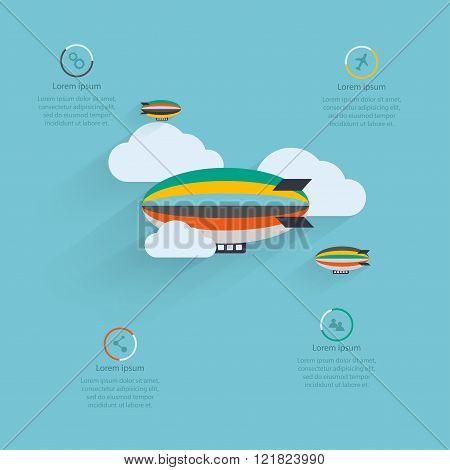Flat Vector Design Of The Startup Process, Cloud Storage, Responsive Web Design, Hot Air Balloon