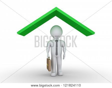Businessman is protected under a green roof