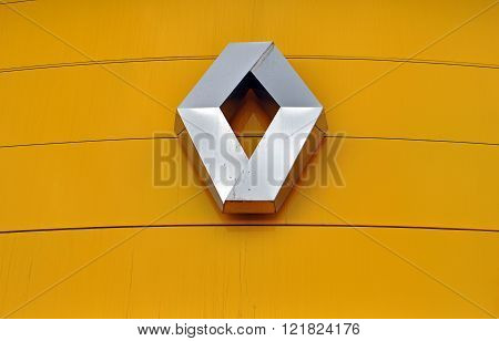 MOSCOW RUSSIA - OCTOBER 10 2015: Logotype of Renault corporation on October 10 2015. Renault is the French automotive manufacturer.