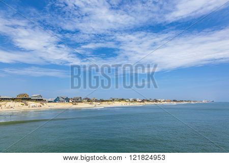 beautiful beach at nags Head in the Outer Banks under blue sky