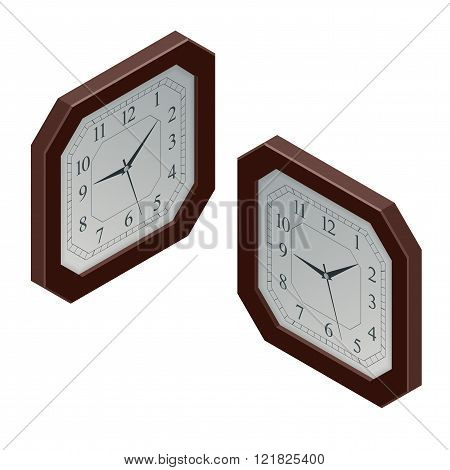 Clock isometric illustration. clock design concept. Flat 3d Vector illustration.