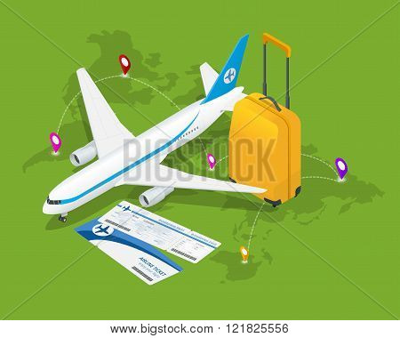 Travel isometric composition. Travel and tourism background. Flat 3d Vector illustration. Travel ban