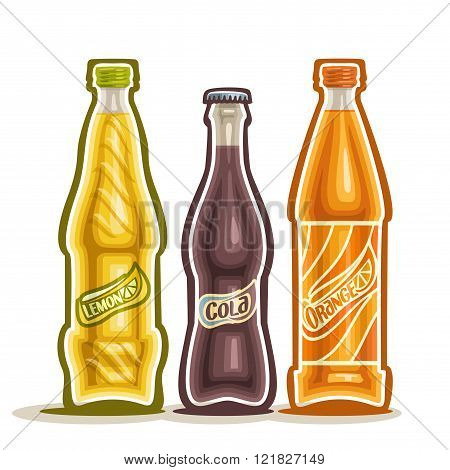 Vector illustration on the theme of the logo for carbonated drinks consisting of three closed glass bottles with soda beverages on a white background