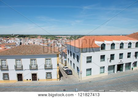 Old Street Of Evora City In Portugal