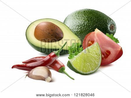 Guacamole Avocado Garlic Lime Chili Tomato Ingredients Isolated