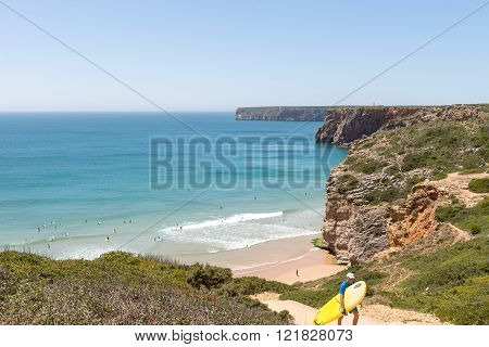 Beliche Beach In The Algarve Region Of Portugal.