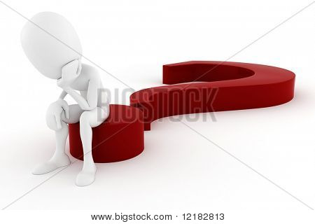 3d man sitting on a big red question mark
