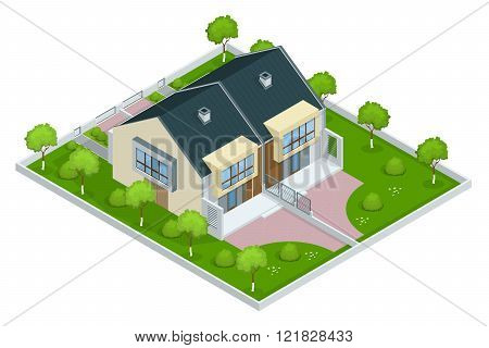 Modern townhouse flat 3d isometric vector illustration. A row of new townhous. Exterior townhouse. Villa view with garden. Townhouse illustration. Townhouse icon. Villa icon poster
