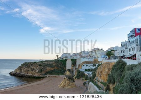 Beach Of Albufeira City In Algarve, Portugal