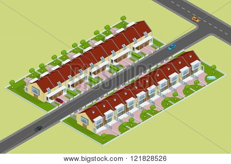Modern townhouse flat 3d isometric vector illustration. A row of new townhous. Exterior townhouse. V