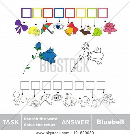 Vector rebus game. Task and answer. Solve the rebus and find the word Campanula