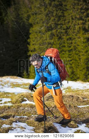 A Man With A Backpack Hiking Trip.