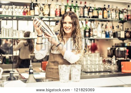 Pretty barmaid shaking cocktails in a bar - Female bartender preparing drinks for guests