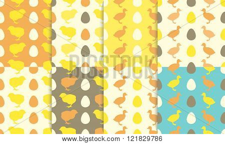 Seamless Patterns With Chick And Duckling.