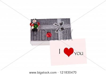 Gift Box With Ladybugs And Pink Postcard With Heart