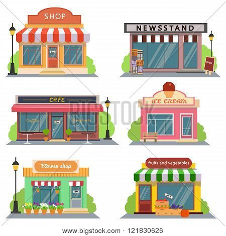 Shops and stores icons set in flat design style. shop, newspaper shop, coffee shop, ice cream shop,