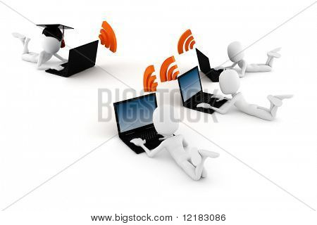 3d man e-learning, on white background poster