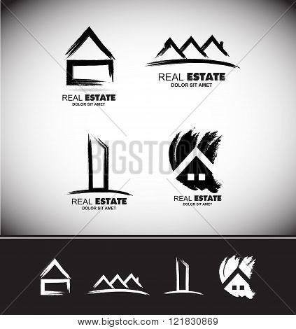 Grunge Drawing Real Estate Logo Set