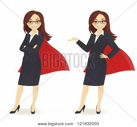 Super businesswoman in different poses isolated on white background