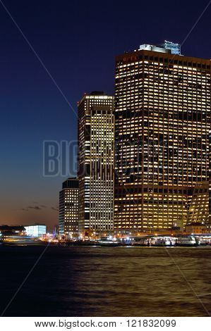 Buildings Of Manhattan At Night.