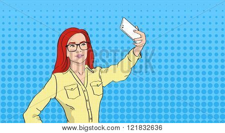 Woman In Glasses Taking Selfie Photo On Smart Phone Pop Art Colorful Retro Style