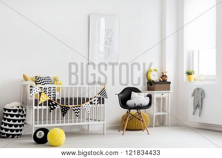 Shot of a stylish nursery room, horizontal