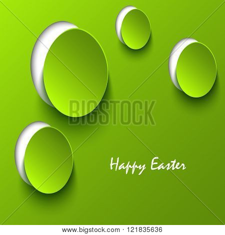 Easter Card With Green Eggs Cutouts Template