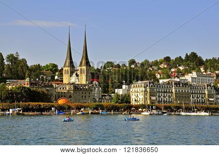 LUZERN SWITZERLAND - AUGUST 21: Panoramic view on historical centre of Luzern on August 21 2011. Luzern is a city in north-central Switzerland in the German-speaking portion of country.