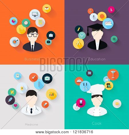 People Professions Concept Flat Icons Set Of Cook Doctor Businessman And Student Jobs For Infographi
