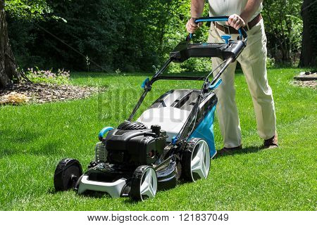 Lawnmower In Action