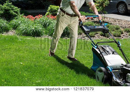 Pushing Lawn Mower