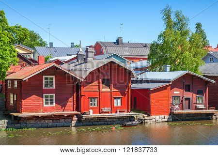 Finnish Town Porvoo. Old Red Wooden Houses