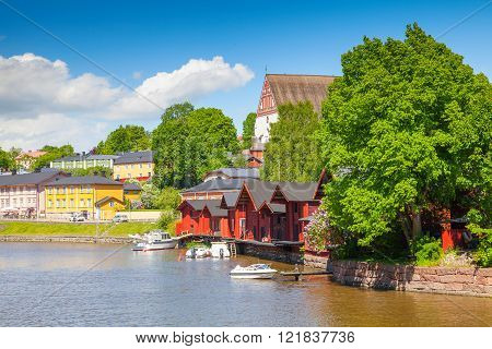 Red Houses Of Historical Finnish Town Porvoo