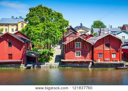 Old Red Wooden Houses On River Coast, Porvoo