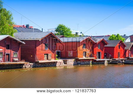 Red Wooden Houses And Barns Of Porvoo