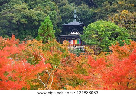 Eikando Pagoda Against Autumn Foliage